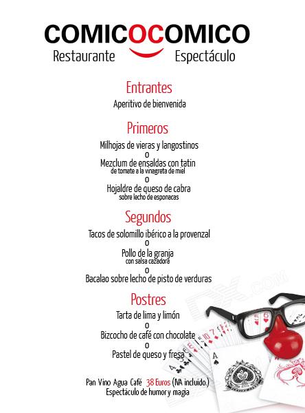 Menú mediterráneo del restaurante Cómico Cómico